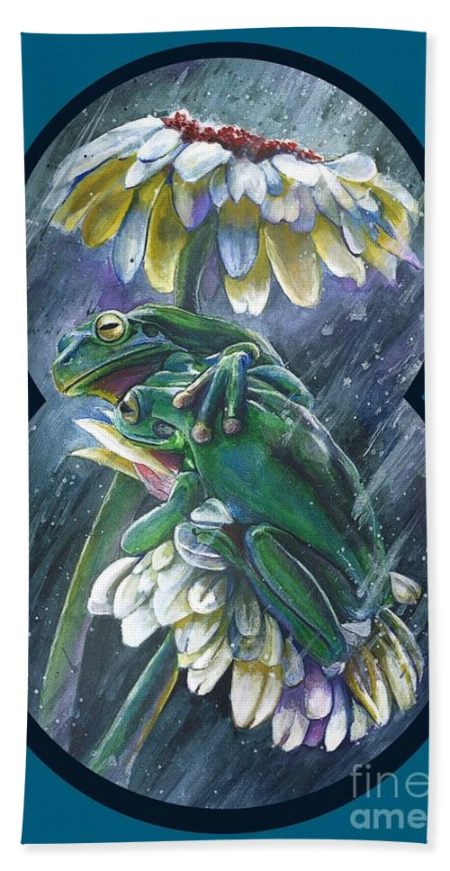 Frog T-shirts Bath Towel featuring the mixed media Frogs- Optimized For Shirts And Bags by Michael Volpicelli