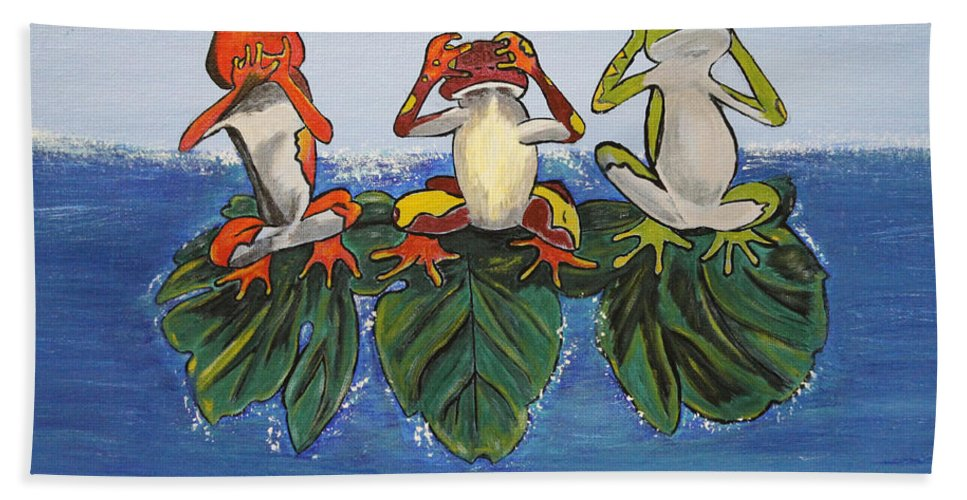 Frogs Bath Sheet featuring the painting Frogs Without Sense by Debbie Levene