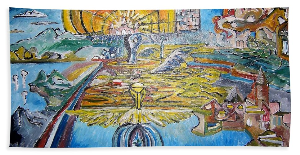 Abstract Hand Towel featuring the painting From Ground To Sky by Timothy Michael Foley