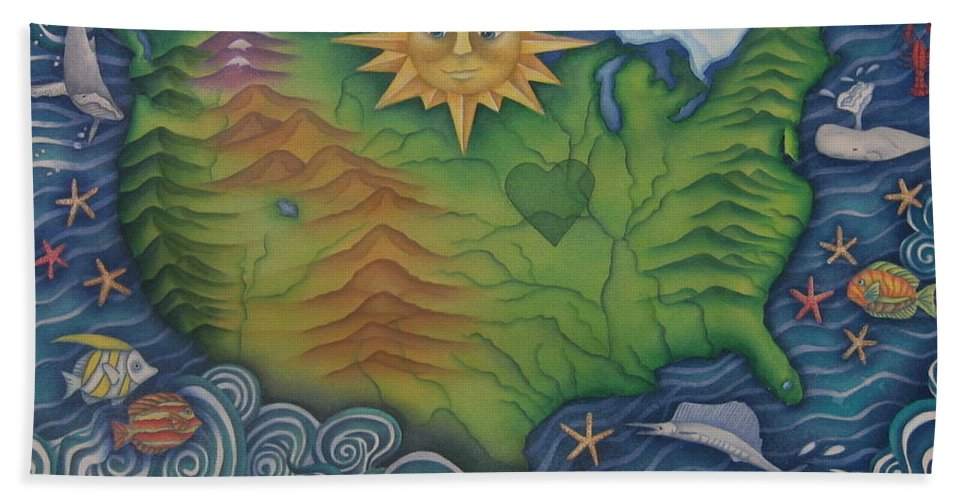 Map Hand Towel featuring the painting From Sea To Shining Sea by Jeniffer Stapher-Thomas