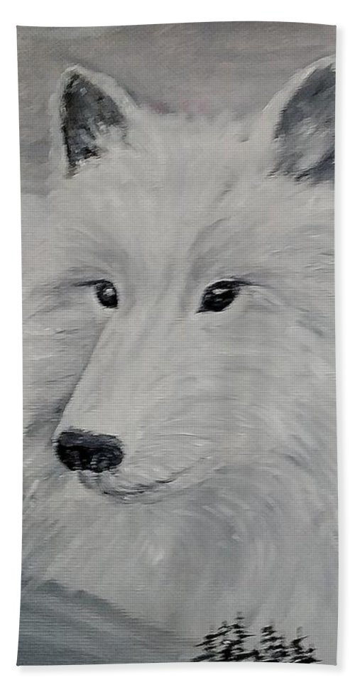 White Wolf Hand Towel featuring the painting From The Mist Of The Moon by Sandra Maddox