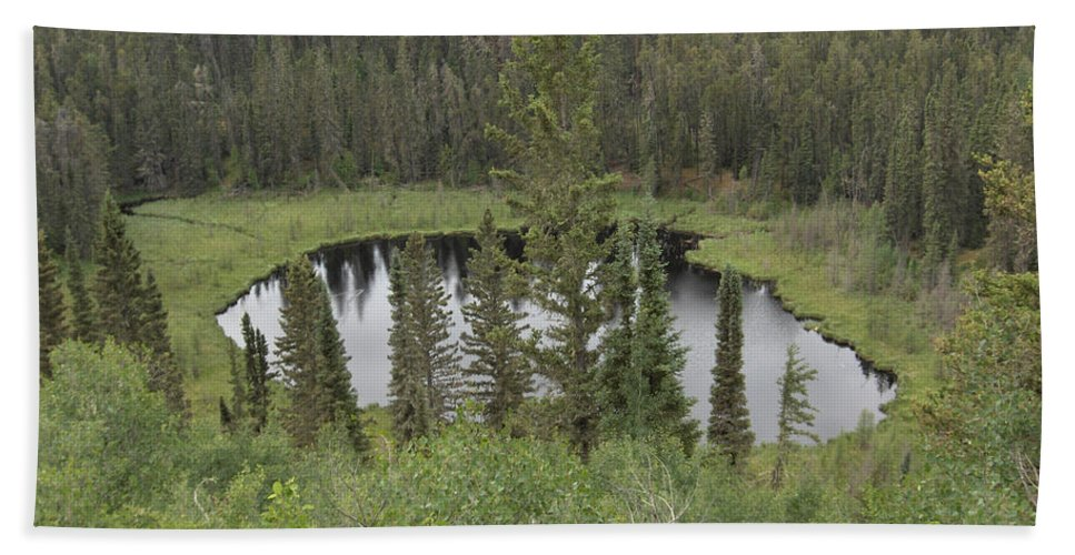 Esker Hills Saskatchewan Hanson Lake Road Lake Forest Water Trees Evergreen Scenery Wild Pond Bath Sheet featuring the photograph From The Top Of Esker Hills by Andrea Lawrence