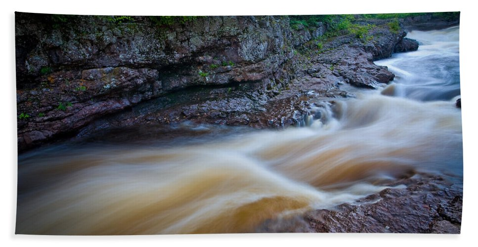 Flowing Hand Towel featuring the photograph From The Top Of Temperence River Gorge by Rikk Flohr
