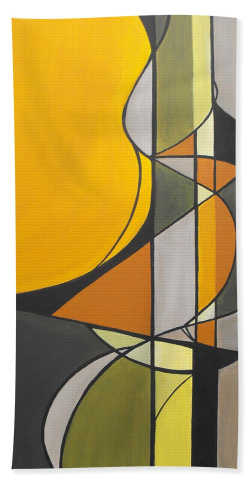 ruth Palmer Abstract Geometric Painting Acrylic Black Grey Green Orange Bath Sheet featuring the painting From Time To Time by Ruth Palmer