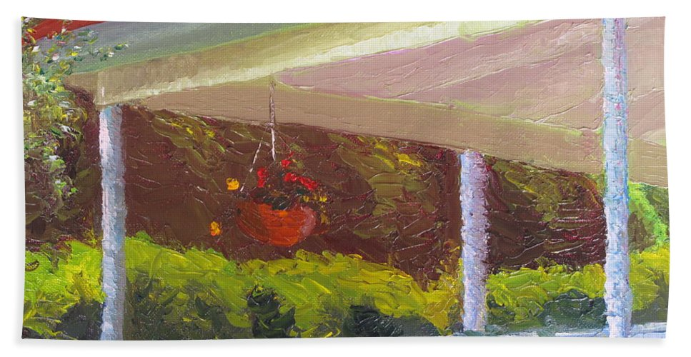 Landscape Painting Hand Towel featuring the painting Front Porch - Morning by Lea Novak