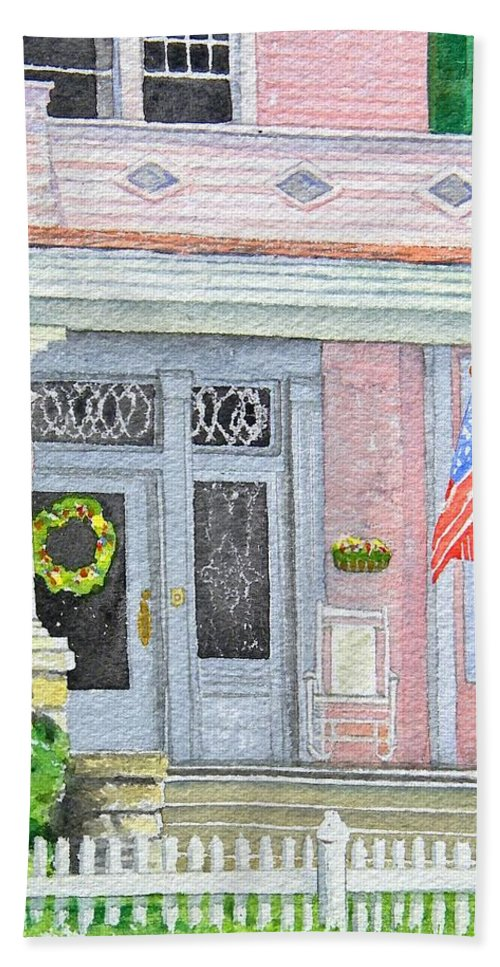 Front Porch Hand Towel featuring the painting Front Porch by Gale Cochran-Smith