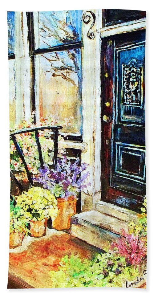 Frontporch Hand Towel featuring the painting Front Porch by Linda Shackelford