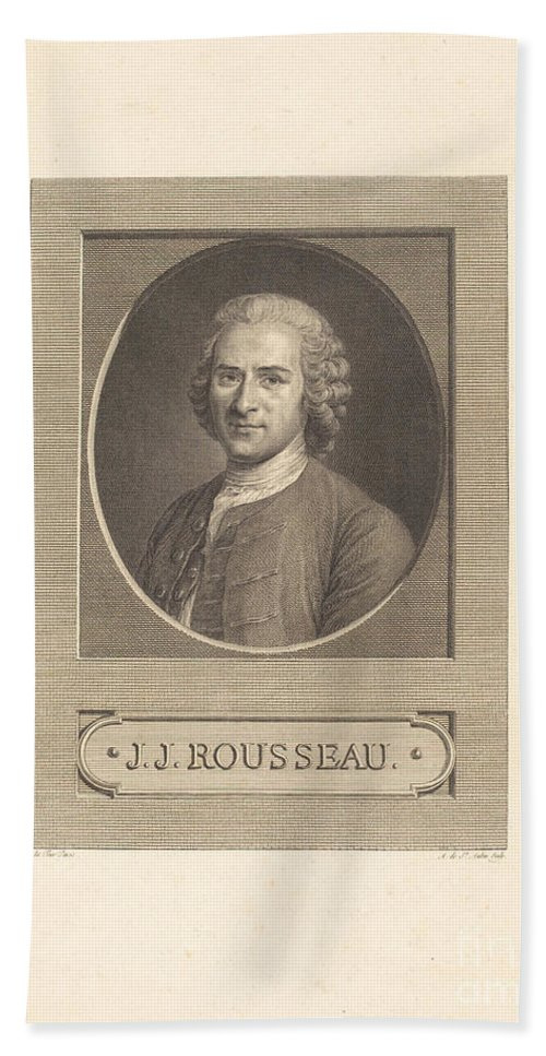 Hand Towel featuring the drawing Frontispiece: J.j. Rousseau by Augustin De Saint-aubin After Maurice-quentin De La Tour