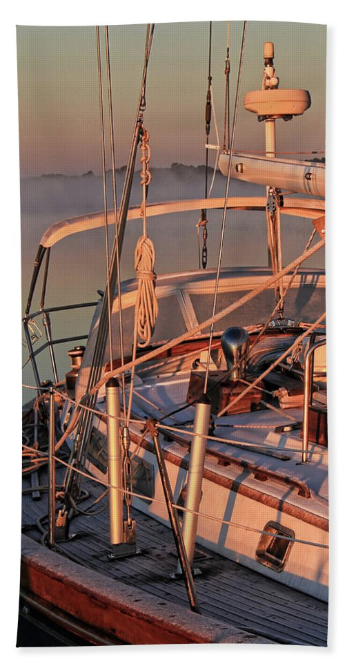 Frost Hand Towel featuring the photograph Frost On The Boat by Timothy Gass