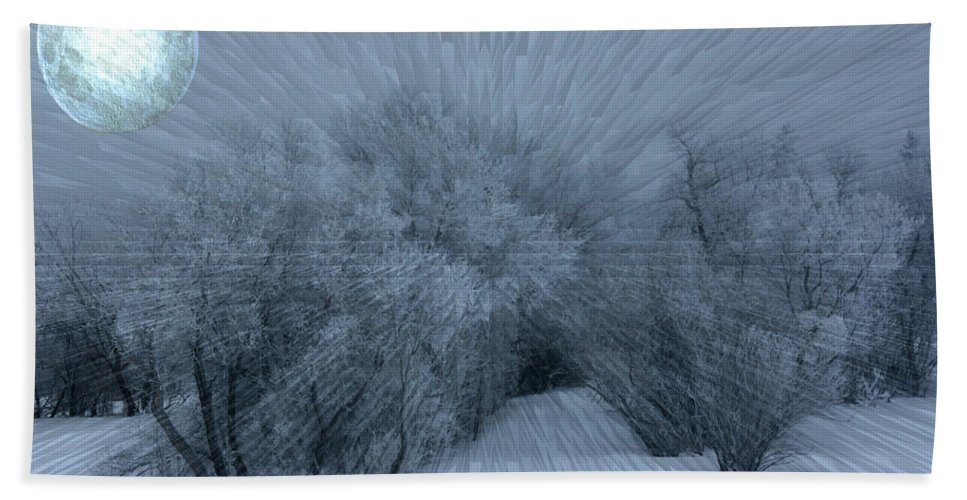 Moon Hoar Frost Trees Sky Winter Snow Cold Fog Lunar Bath Sheet featuring the photograph Frosted Moon by Andrea Lawrence