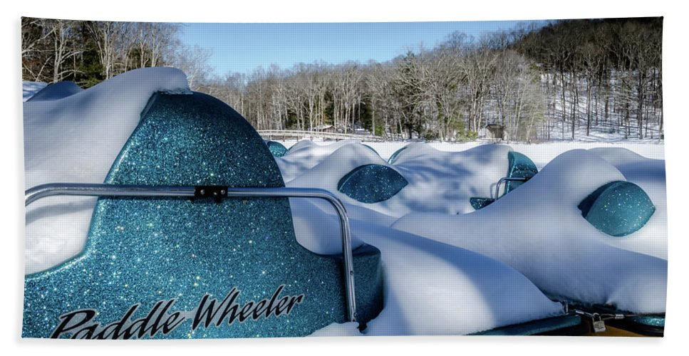 Landscape Bath Sheet featuring the photograph Frosted Paddleboats by Jim Love