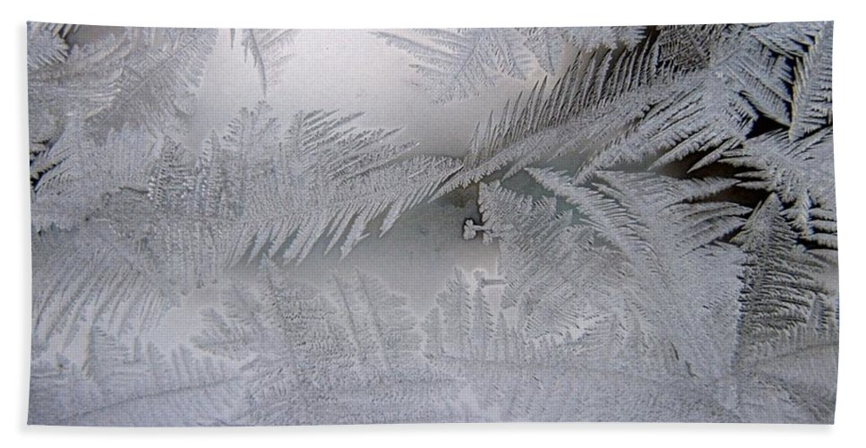 Frost Bath Sheet featuring the photograph Frosted Pane by Rhonda Barrett