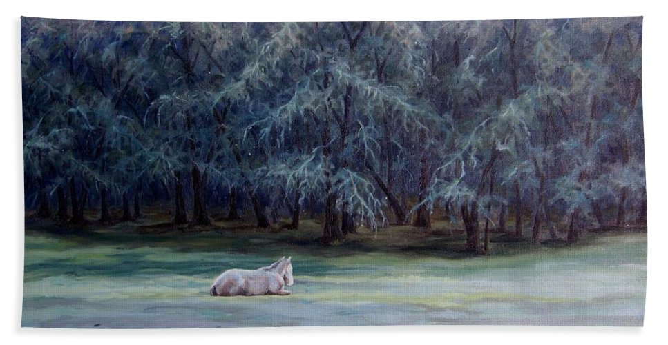 Horse Oil Painting Hand Towel featuring the painting Frosty Morning by Cynthia Riley