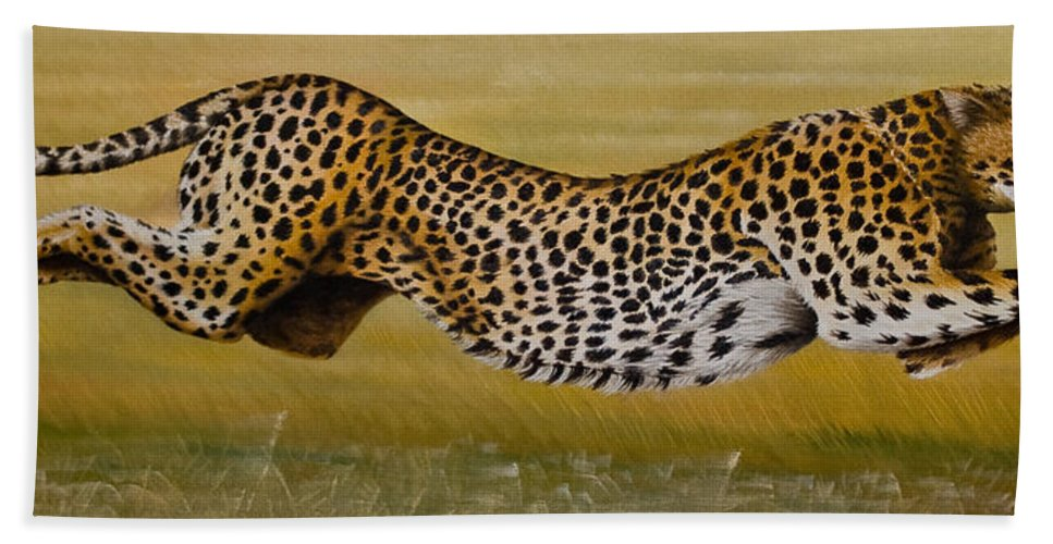Cheetah Flying Run Speed Stretch Chase Bath Sheet featuring the painting Frozen At Full Charge by Pauline Sharp