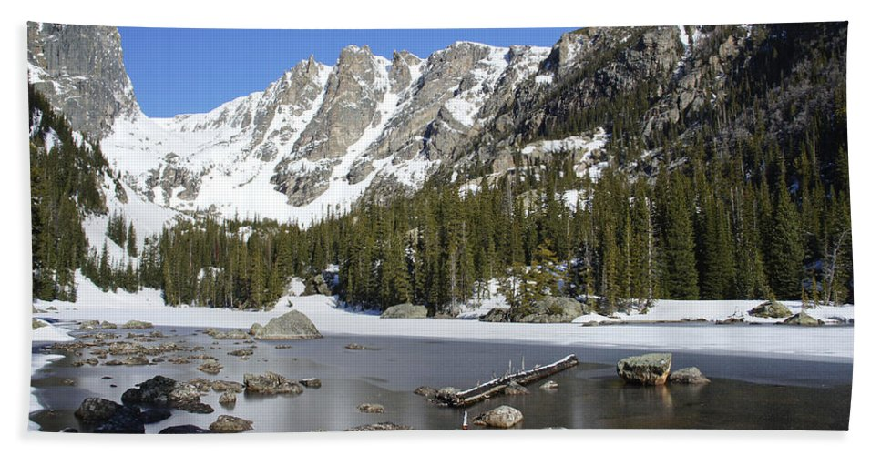 Horizontal Hand Towel featuring the photograph Frozen Colorado Lake by Brian Kamprath