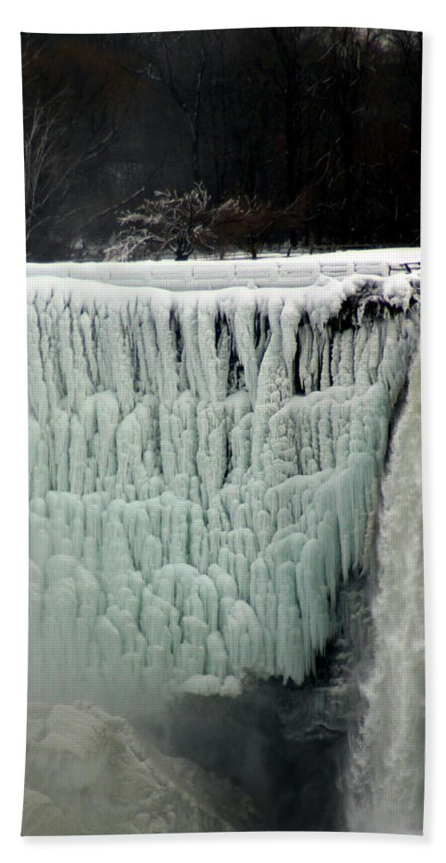 Landscape Bath Towel featuring the photograph Frozen Falls by Anthony Jones