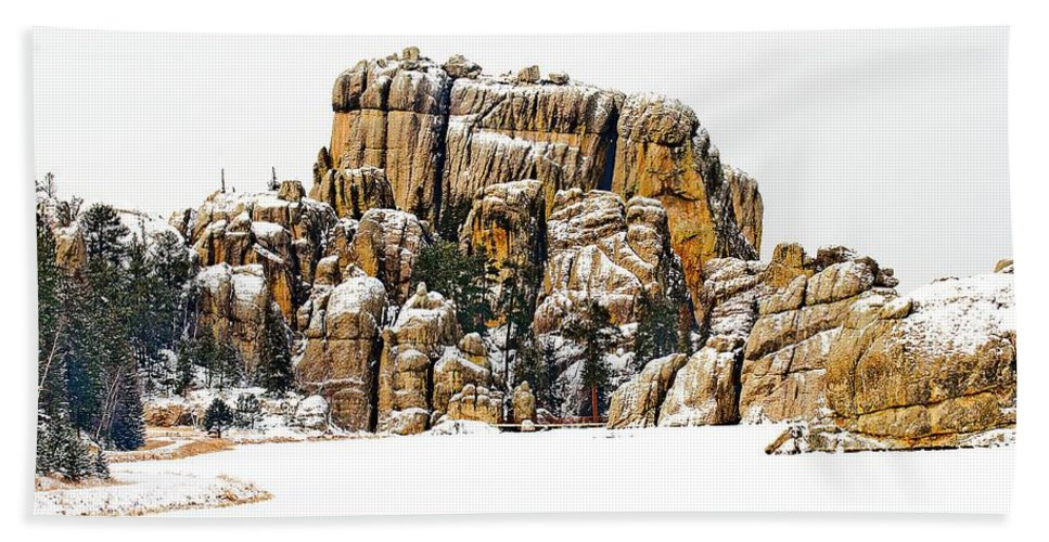 Stream Hand Towel featuring the photograph Frozen Lake by FL Collection