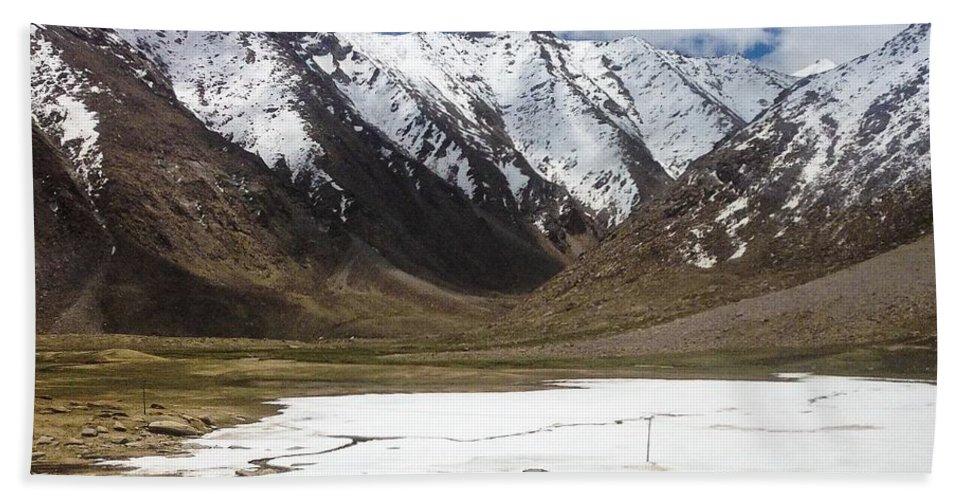 Ladakh Hand Towel featuring the photograph Frozen Lake by Vartika Singh