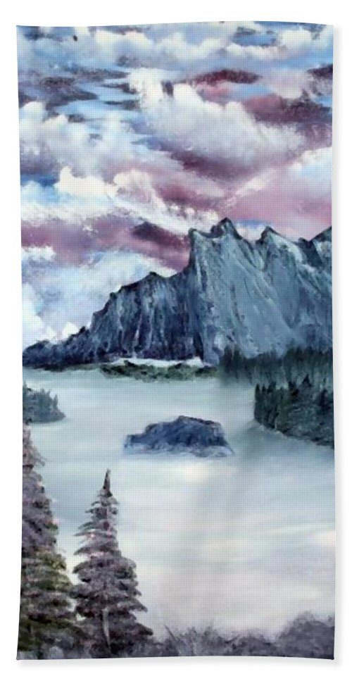 Landscape Bath Sheet featuring the painting Frozen River by Ervin Sloan