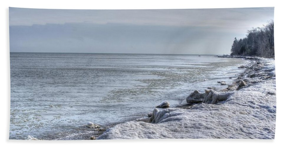 Beach Hand Towel featuring the photograph Frozen Sand by Patti Pappas