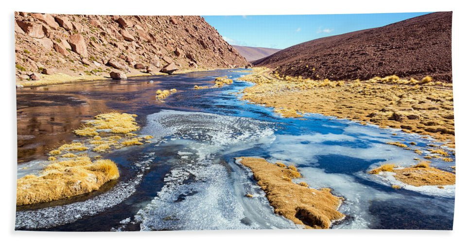 Atacama Hand Towel featuring the photograph Frozen Stream In Chile by Jess Kraft