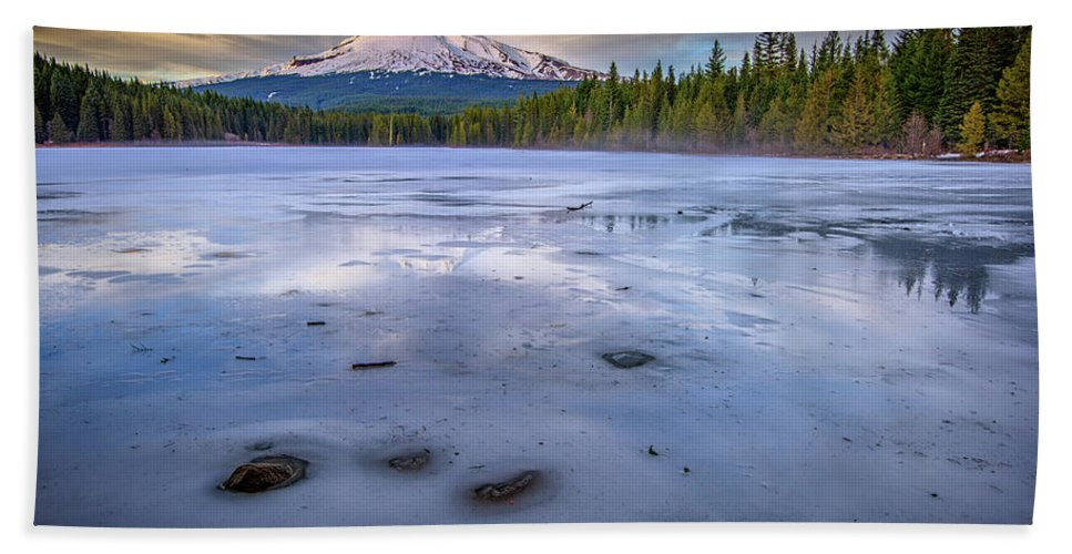 Mount Hood Bath Sheet featuring the photograph Frozen Trillium by Rick Berk