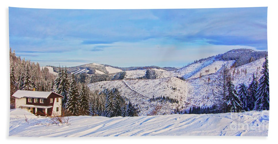 Valley Bath Sheet featuring the photograph Frozen Valley 2 V3 by Alex Art and Photo