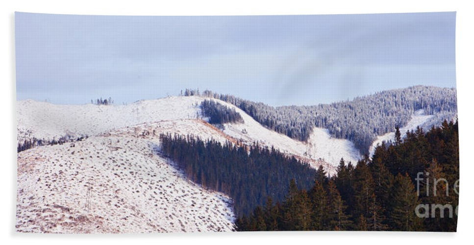 Valley Bath Sheet featuring the photograph Frozen Valley 5 V2 by Alex Art and Photo