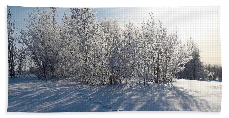Talvi Bath Sheet featuring the photograph Frozen Views 3 by Jouko Lehto