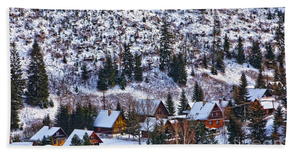 Valley Bath Sheet featuring the photograph Frozen Village V2 by Alex Art and Photo