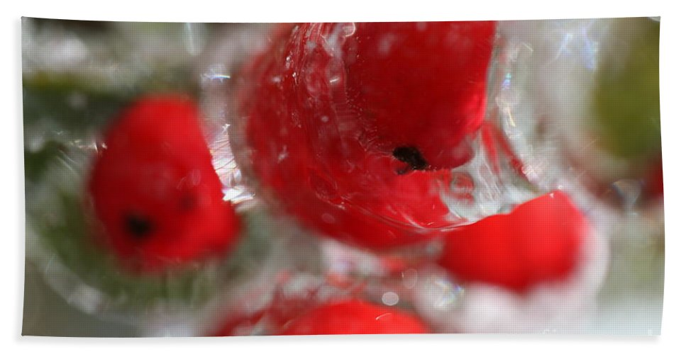 Berries Hand Towel featuring the photograph Frozen Winter Berries by Nadine Rippelmeyer