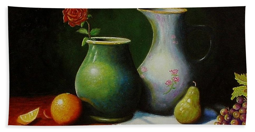 Still Life Bath Sheet featuring the painting Fruit And Pots. by Gene Gregory