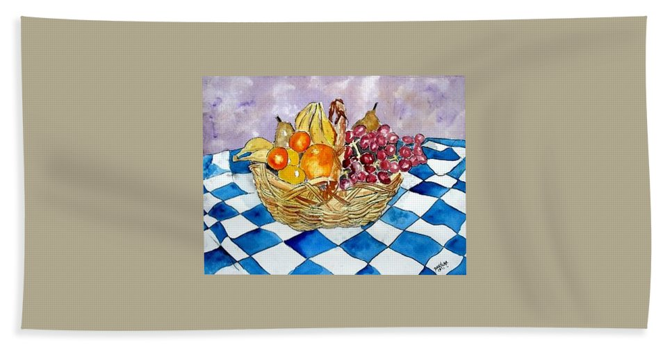 Fruit Basket Hand Towel featuring the painting Fruit Basket Still Life 2 Painting by Derek Mccrea