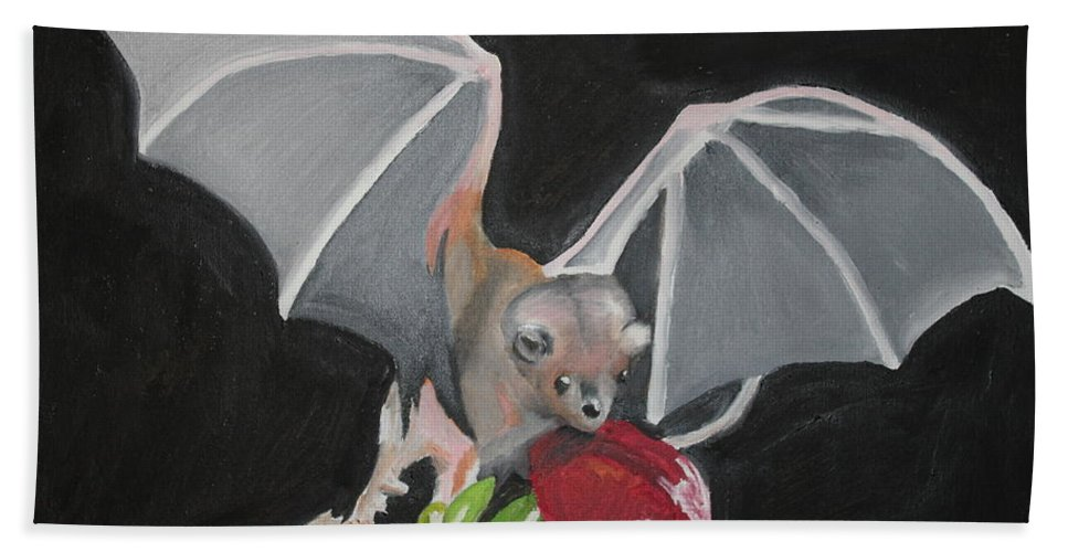 Fruit Hand Towel featuring the painting Fruit Bat by Terry Lewey