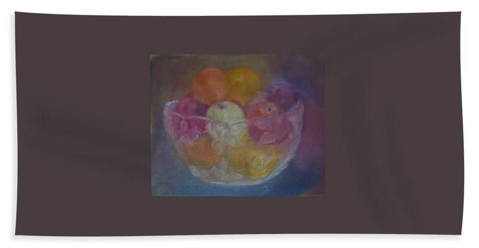 Still Life Hand Towel featuring the painting Fruit In Glass Bowl by Sheila Mashaw