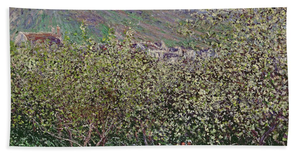 Fruit Pickers Hand Towel featuring the painting Fruit Pickers by Claude Monet