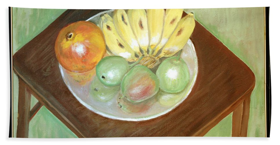 Fruits Hand Towel featuring the painting Fruit Plate by Usha Shantharam