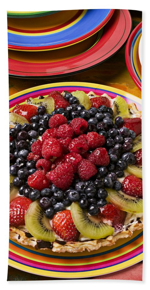 Fruit Bath Towel featuring the photograph Fruit Tart Pie by Garry Gay