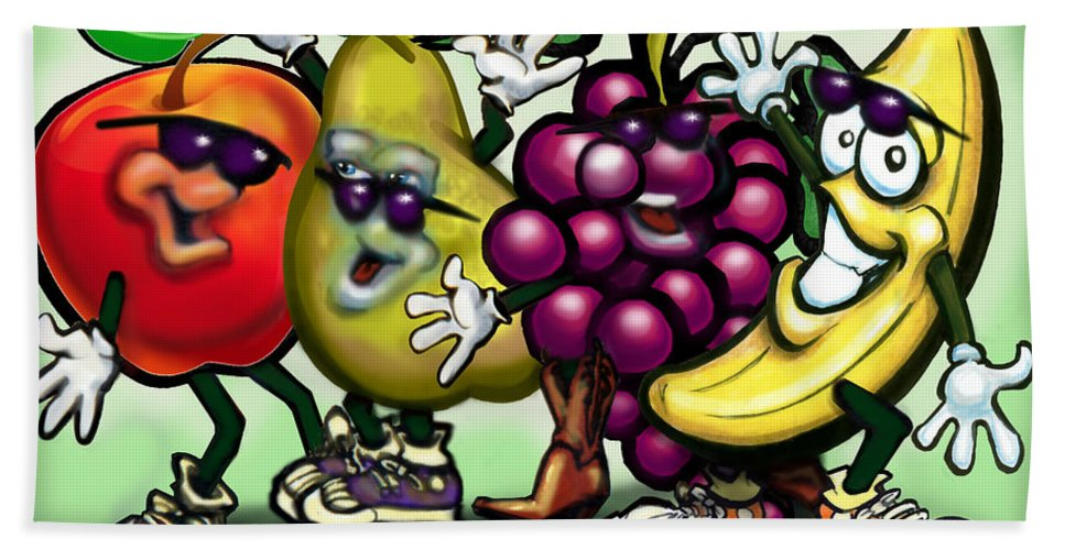 Fruit Bath Sheet featuring the painting Fruits by Kevin Middleton