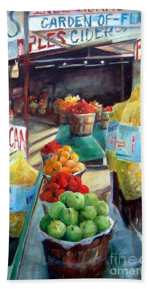 Fruit Hand Towel featuring the painting Fruitstand Rhythms by Linda Shackelford