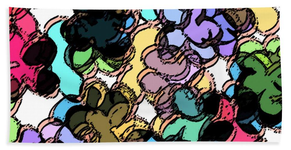 Abstract Bath Sheet featuring the digital art Fruity by Rachel Christine Nowicki