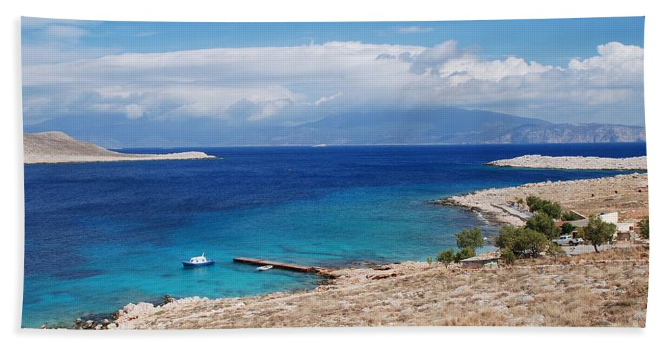 Halki Bath Sheet featuring the photograph Ftenagia Beach On Halki by David Fowler