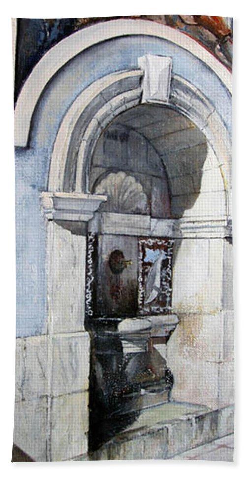 Fuente Bath Sheet featuring the painting Fuente Castro Urdiales by Tomas Castano