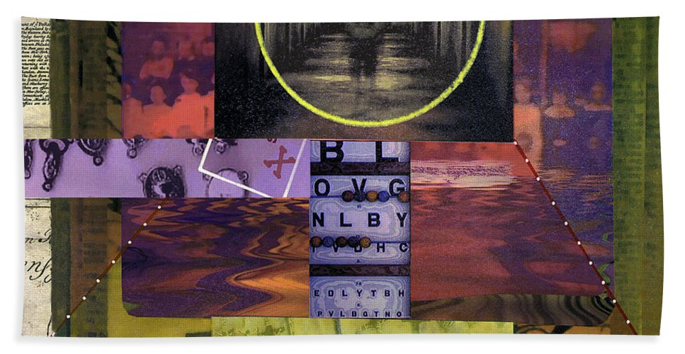 Collage Bath Sheet featuring the painting Fugue State by Dominic Piperata