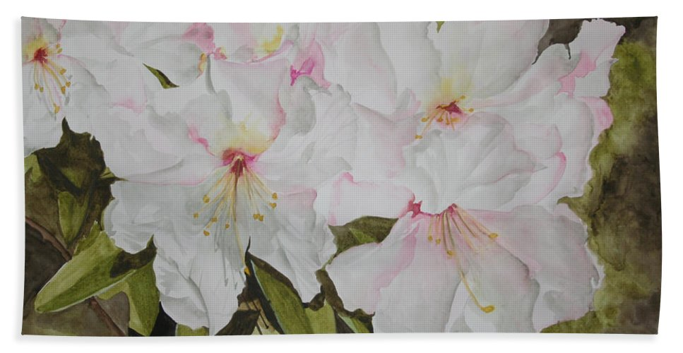 Flowers Bath Towel featuring the painting Full Bloom by Jean Blackmer