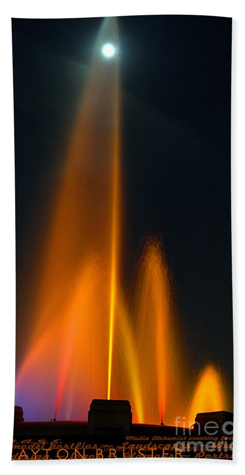 Clay Hand Towel featuring the photograph Full Moon And Fiery Fountain by Clayton Bruster