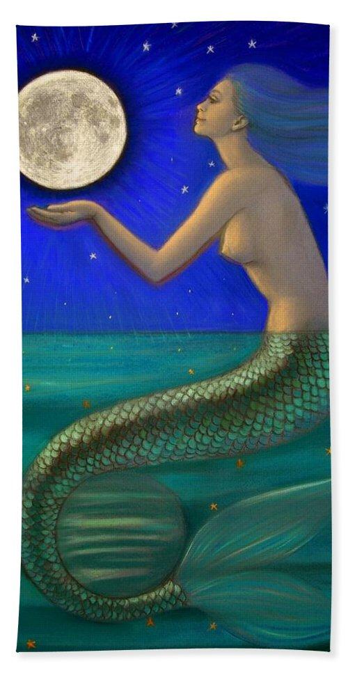 Mermaids Bath Sheet featuring the painting Full Moon Mermaid by Sue Halstenberg