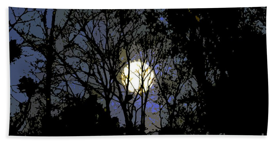 +moon Hand Towel featuring the painting Full Moon Rising by David Lee Thompson