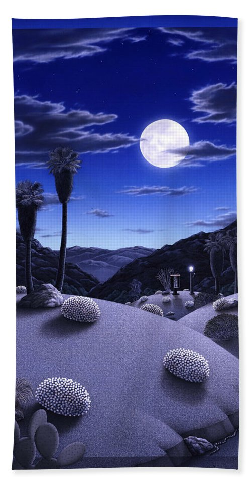 Desert Bath Towel featuring the painting Full Moon Rising by Snake Jagger