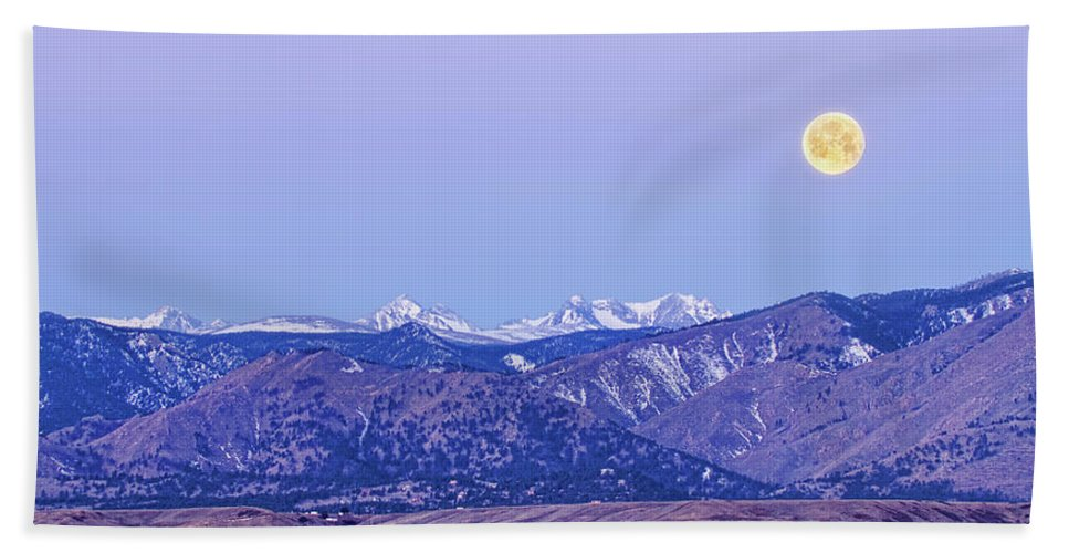 'full Moon' Bath Sheet featuring the photograph Full Moon Setting Over The Colorado Rocky Mountains by James BO Insogna